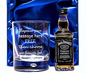 Engraved/Personalised Glass & Jack Daniels in Silk Gift Box 18th/21st/30th/40th/50th/60th Birthday Gift