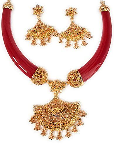 NEW JESSORESWARI JEWELLERS Red Zink Pola Necklace for Women