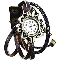 MeasEtop Retro Weave Wrap Around Leather Bracelet Lady Wrist Watch Quartz Watch