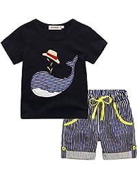Conjuntos Bebe Niño Verano, Zolimx Reborn Bebes Recien Nacidos Dinosaurios de Dibujos Animados Camisetas Rayas