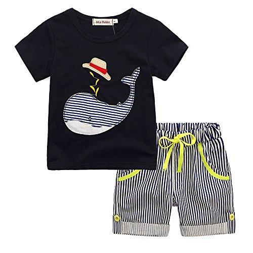 erkleidung Jungen T Shirt Sommer Baumwollshorts Sommer Kurzarmhemd Sommer Baby Bekleidungssets Trainingsanzug Kleidung Boy gestreiftes Wal Kurzarm T-Shirt + Shorts zweiteilig ()