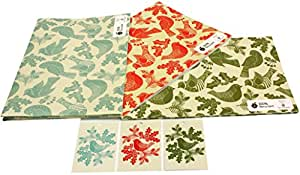re-wrapped – Christmas Bundle 2 – folk Robins rosso, verde e blu – eco friendly riciclata carta da regalo – da incastro Kate Heiss Re-wrapped - Christmas Bundle 2 - 3 sheets / 3 tags - Folk Robins Red, Green & Blue - eco friendly recycled gift wrap wrapping paper - by UK designer Kate Heiss