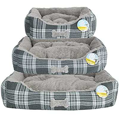 Me & My Super Soft Grey Check Pet Bed - Choice of Size