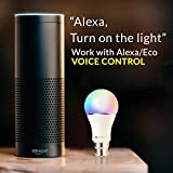 Smart LED Bulb Alexa, Google Home : WIFI Hue Light, B22 RGBW Colour Changing 60W Equivalent, Timing Function, Remote Controlled by IOS/Android Devices, No Hub Required,[Energy Class A+]- EDSUN HOMES