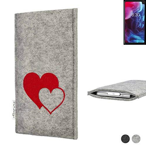 flat.design Handy Hülle für Archos Oxygen 63XL Faro mit Herzen Filz Schutz Tasche Case Sleeve handgemacht