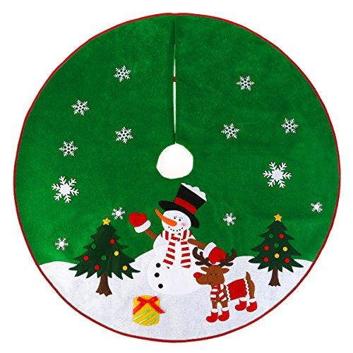 """nicexmas Base de árbol de Navidad verde con diseño de renos, copos de nieve y muñeco de nieve 36"""""""