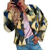 TWBB Damen Mäntel,Winter Faux Fur Mantel Jacken Gradient Color Parka Strickjacke Outwear