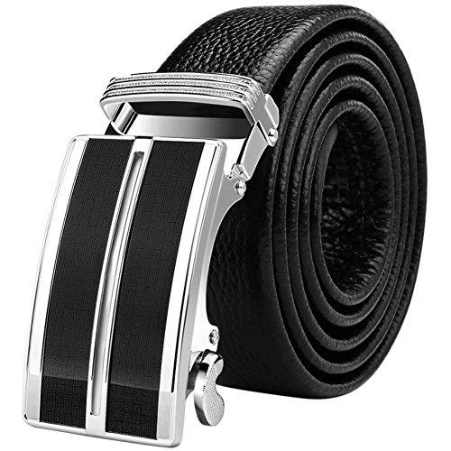 Jiejing uomo fibbia automatica cintura,tempo libero business cintura gioventù decorazione cintura-a 110cm(43inch)