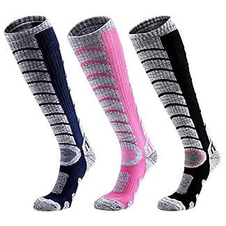 Kuyou Ski Socks Women Men, 3 Pair Cashmere-Like Long Hose Thermal Skiing Socks, Hiking Socks Rose Pink for Women Size UK 3-8/Eur 36-41, Black/Blue for Men UK 6-11 / Eur 39-45 for Snow, Snowboard 9