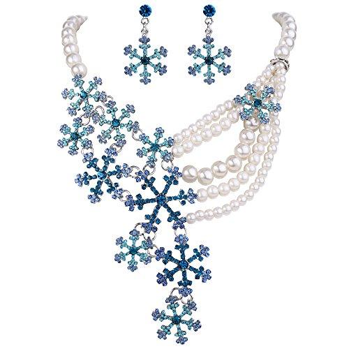 Flyonce Kristall Simulierte Perle Winter Schneeflocke Halskette Ohrringe Set Blau ()