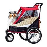 Haustier-Spaziergänger-Hundehalterung, Laufkatze, Komfort-EFA Buggy. Kinderwagen, Pram Für Hunde Und Katzen. Einfach Zu Falten Und Verbindung Fahrrad (Farbe : Red)