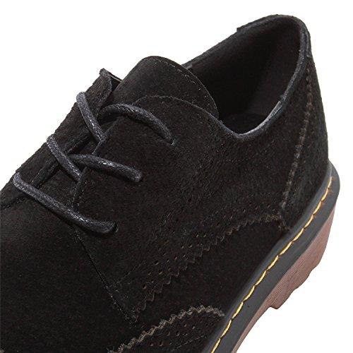 Smilun Damen Brogue Schnürschuhe Debby Klassische Schnürhalbschuhe Schuhe Rund Toe Schwarz
