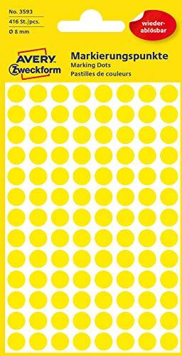 AVERY Zweckform 3593 selbstklebende Markierungspunkte (Ø 8 mm, 416 ablösbare Klebepunkte auf 4 Bogen, runde Aufkleber für Kalender, Planer und zum Basteln, Papier, matt) gelb