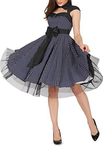 Black Butterfly 'Athena' Polka-Dots Kleid mit großer Schleife Nachtblau