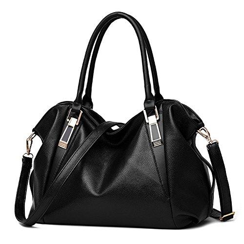 Borsa a Tracolla Donna Messenger in pelle Donna Borsetta Totes Borsa Handbag Tote Bag - LATH.PIN Nero