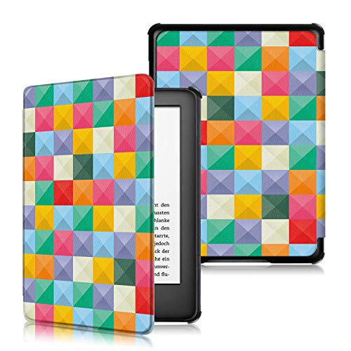 new Kindle 10th Generation 2019 Release, PU Leather Smart Shell Protective Cover with Auto Wake/Sleep E-Reader (P-cube) ()