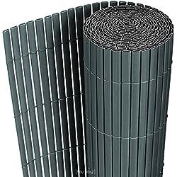 [neu.haus] PVC Sichtschutzmatte (90x300cm) (grau) Sichtschutz / Windschutz / Gartenzaun / Balkon Umspannung / Zaun