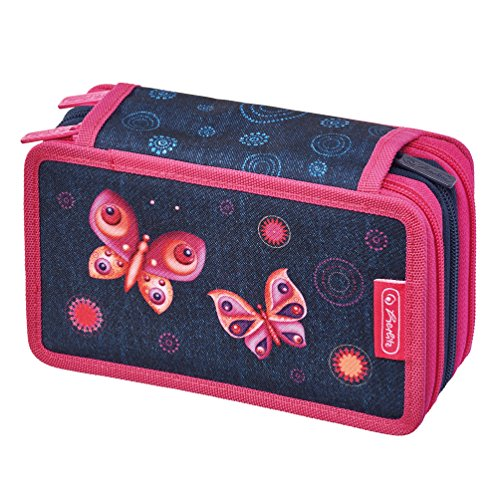 Herlitz 11438710 Triple Etui 31-teilig, Butterfly Dreams