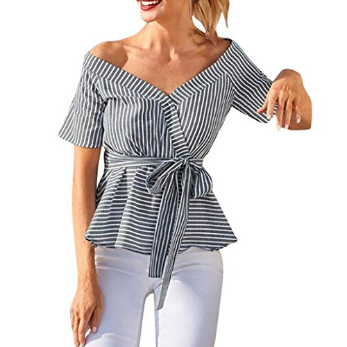 Zegeey Damen T-Shirt V-Ausschnitt Kurzarm Gestreift Streifen Knot Bandage Sommer Oberteil Blusen Tunika Hemd Shirts Pullover Tops(Schwarz,EU-40/CN-XL