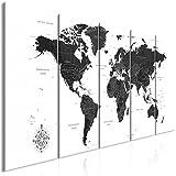 decomonkey Bilder Weltkarte 200x80 cm 5 Teilig Leinwandbilder Bild auf Leinwand Vlies Wandbild Kunstdruck Wanddeko Wand Wohnzimmer Wanddekoration Deko Landkarte Kontinente schwarz weiß
