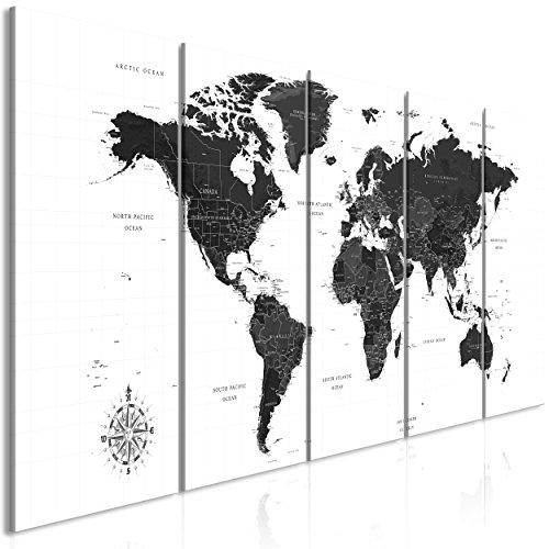 decomonkey Akustikbild Pinnwand Weltkarte 200x80 5 Teilig Bilder Leinwandbilder Wandbilder als Korktafel XXL Korkwand nutzbar Schallschutz Akustikdämmung leise Landkarte Kontinente schwarz weiß