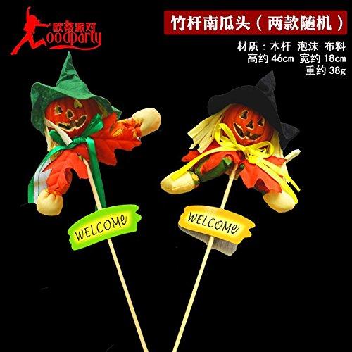 SunBai Halloween Dekorationen Kürbis Licht emittierende Gravur Schaum große Kürbis Gespenst Hexe Skelett hängend Ornamente, Bambus Stümpfe Kürbis