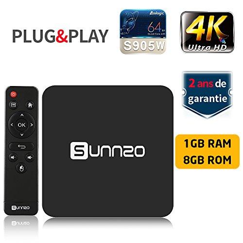 SUNNZO S8 Android 7.1 TV BOX con procesador Amlogic S905W Quad Core de 64 Bits 1GB RAM+8GB ROM,WiFi,4K HD,H.265 (1+8GB)