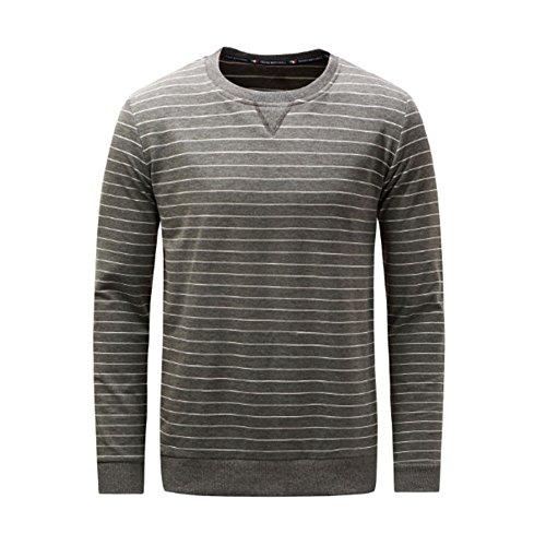 Haodasi Beiläufig Männer Streifen Baumwolle T-Shirt Sweatshirt Lose Lange Ärmel Pullover Pulli Oberteile (Ärmel, Trim Gerippte Lange)