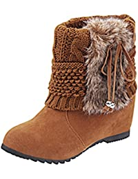 f43f30907 Minetom Mujer Invierno Moda Botines Conejo Pelaje Cuña Zapatos De  Plataforma Calentar Botas De Nieve