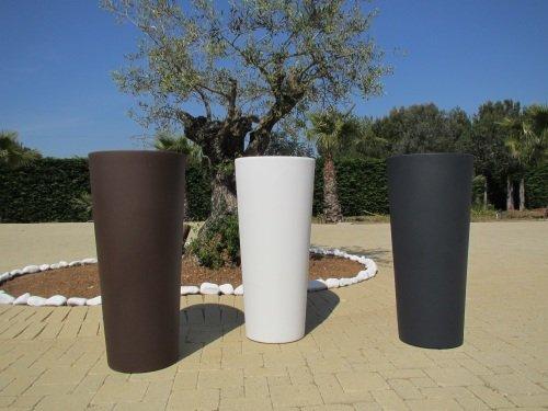 vaso colore bianco in resina genesis cache-pot rotondo alto h 70 x 31
