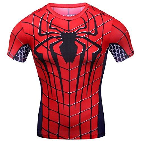 Cody Lundin® Hombres de compresión y fitness Ropa deportiva T-shirt,3D superhéroe Superpersona Araña Bate Camisetas de manga corta (L, Araña)