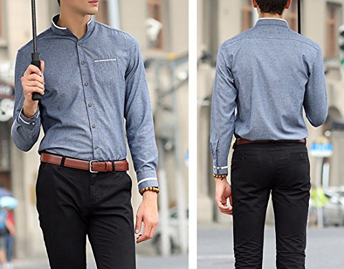QIYUN.Z Uomini Colletto Alla Coreana Manica Lunga Colore Solido Tasto Giù Camicia Di Vestito Denim Blu