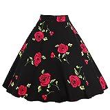 GWELL Damen Elegant 50er Jahre Retro Vintage Swing Röcke Faltenrock Knielang A-Linie Hohe Taille Rockabilly Tanzkleid Party Hochzeit rote Blumen-2 XL