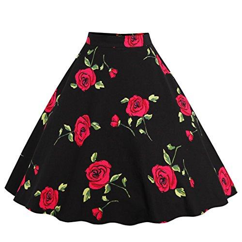 GWELL Damen Elegant 50er Jahre Retro Vintage Swing Röcke Faltenrock Knielang A-Linie Hohe Taille Rockabilly Tanzkleid Party Hochzeit rote Blumen-2 L