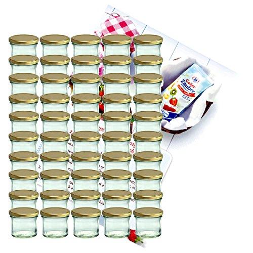 50er Set Sturzglas 125 ml Marmeladenglas Einmachglas Einweckglas To 66 goldener Deckel incl. Diamant-Zucker Gelierzauber Rezeptheft