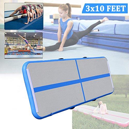 Gymnastikmatte, aufblasbare Air Track Tumbling Matte Gym für Gymnastik, Air Bodenschutzmatte für Zuhause, Picknick, Training, Cheerleading (3Ft breit x 10ft Lang x 4in Dick) blau + weiß