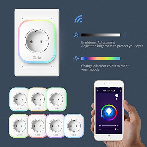 Enchufe Inteligente Wifi, Enchufe con USB Wifi de GBlife, Control Remoto por APP Control por Voz, Temporizador / Función de Compatir / Color RGB / Brillo Ajustable, Compatible con Google Home / Amazon Alexa / IFTTT / Android / IOS