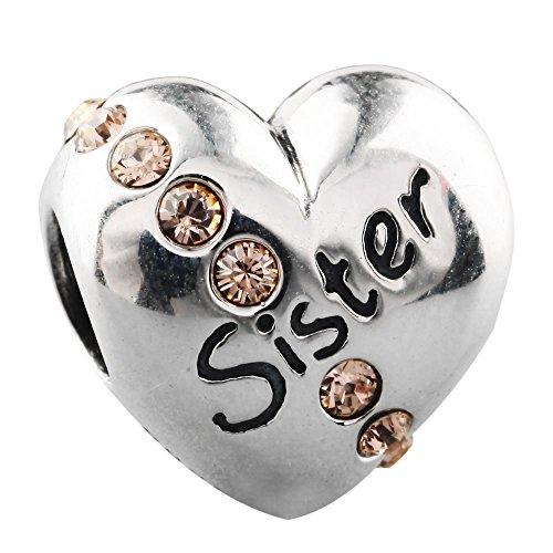 Bead Charms Für Damen Bijou Beads Bezaubern Mädchen Sterlingsilber 925 Sterling Silver Kristall Versilbert Rosa Licht Pfirsich Schwester