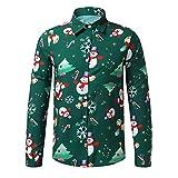 Maglietta da Uomo con Stampa Babbo Natale Sasstaids Camicetta da Uomo Casual con Fiocchi di Neve Santa Candy Stampata Camicia di Natale Poliestere Verde XXXL