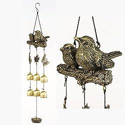 BWinka Nuevos pájaros carillón de viento 6 piezas campanas de bronce Amazing Grace carillones de viento para jardín, patio, patio y decoración del hogar con gancho