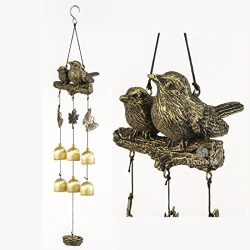 BWinka Les plus récents oiseaux Carillon de vent 6 pièces Bells de bronze Amazing Grace Wind Chimes pour jardin, jardin, patio et décor maison avec crochet