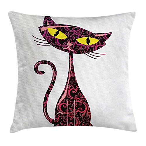 Jolly2T Animal Throw Pillow Cushion Cover by, Animal Pet Cute Cartoon Like Cat Sitting and Looking with Its Big Eyes, Decorative Square Accent Pillow Case, 18 X 18 Inches, Pink Black and Yellow