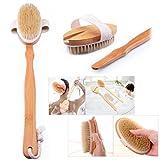 Cisixin Spazzola esfoliante da bagno, Spazzola in legno di faggio, manico lungo, testa staccabile, setole naturali