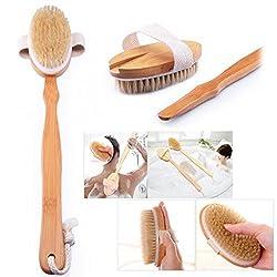 Cisixin Natural Wood Bristle Spa Bath Shower Body Brush Detachable,long Handle