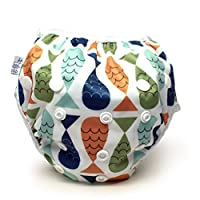 Nageuret Reusable Swim Diaper, Adjustable & Stylish Fits Diapers Sizes N-5 (8-36lbs) Ultra Premium Quality for Eco-Friendly Baby Shower Gifts & Swimming Lessons (Fish- Red, Green, Blue)
