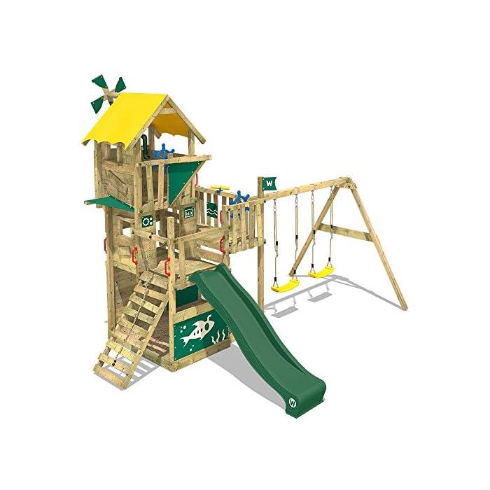 WICKEY Kletterturm Smart Engine Spielturm Klettergerüst auf mehreren Etagen mit Doppelschaukel und Rutsche