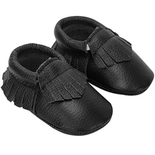 Fire Frog  Baby Genuine Leather Shoes, Baby Mädchen Lauflernschuhe Schwarz
