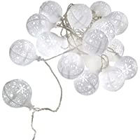 WeRChristmas 20 LED Light Balls with Christmas Snowflakes Decoration String - 9 m, White