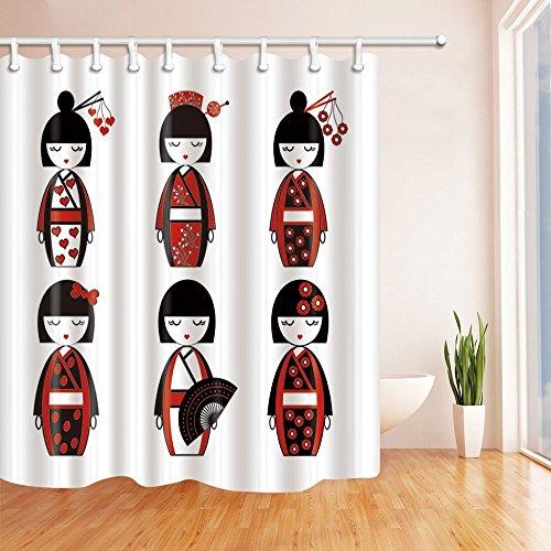 gohebe Asiatische Kultur Decor Vorhänge Dusche von traditionellen japanischen Puppe mit variieren Outfits inklusive Deko-Elements Blumen Herzen Schleife Fan Haar Sticks Bad Vorhänge, 180,3x 180,3cm schwarz weiß