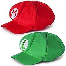 Katara - Gorra para disfraz de Super Mario Bros, talla  ajustable, ideal para Cosplay o carnaval, Mario y Luigi - 2 gorras,  roja y verde